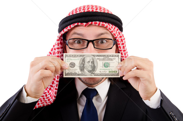 Arab businessman with dollar isolated on white Stock photo © Elnur