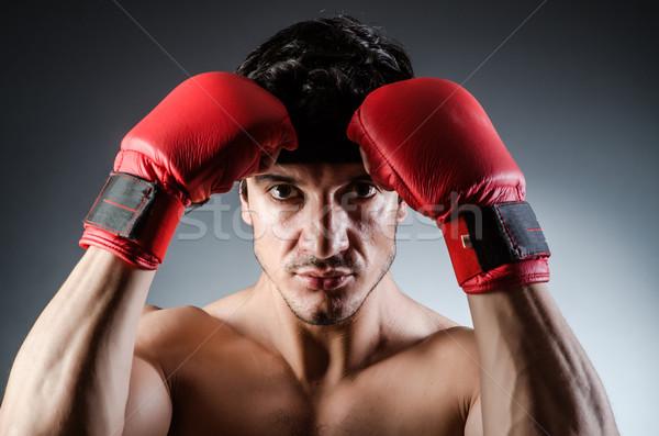 Muskularny bokser czerwony rękawice strony sportu Zdjęcia stock © Elnur