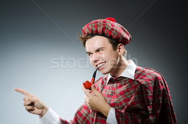 Grappig roken pijp tabak dansen witte Stockfoto © Elnur