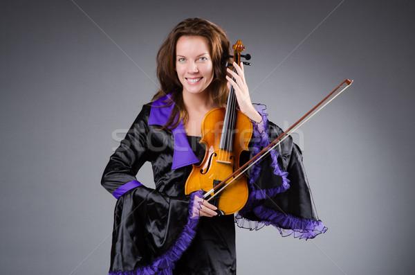 Nő művész hegedű zene fa koncert Stock fotó © Elnur