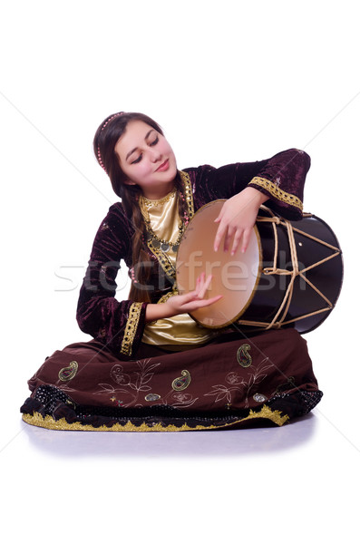Young azeri woman playing traditional drum nagara Stock photo © Elnur