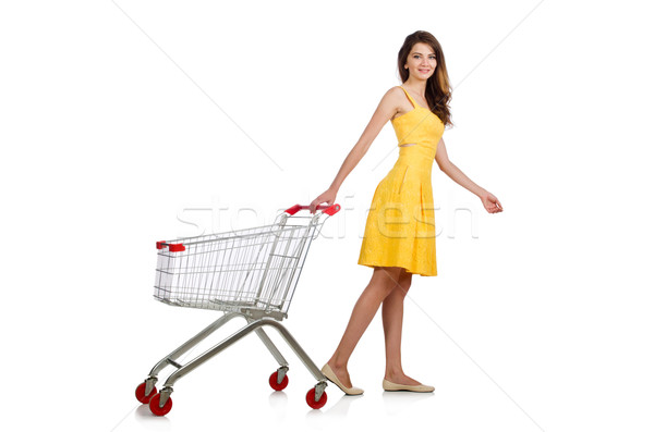 Woman with shopping trolley isolated on white Stock photo © Elnur