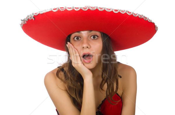 Foto stock: Mujer · rojo · sombrero · aislado · blanco
