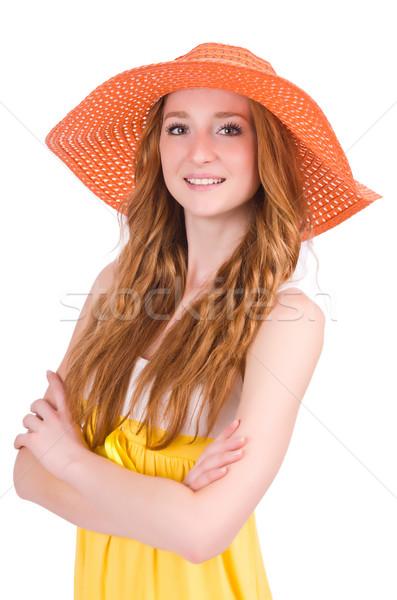 Mulher jovem amarelo verão vestir isolado branco Foto stock © Elnur