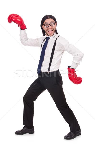 ストックフォト: 面白い · 小さな · ビジネスマン · ボクシンググローブ · 孤立した · 白