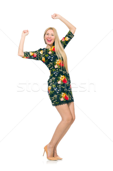 2e04fc81cad2 Woman in dark green floral dress isolated on white Stock photo © Elnur
