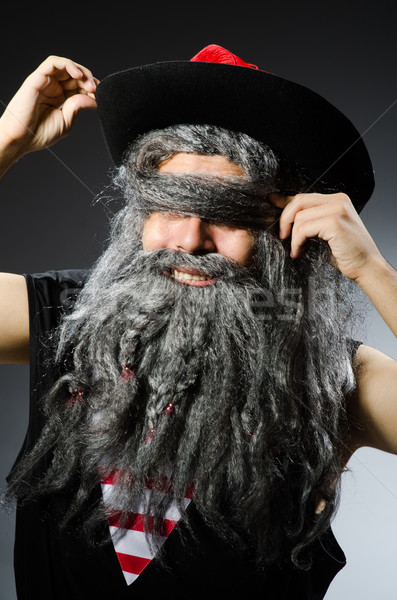 Funny pirate with long beard Stock photo © Elnur