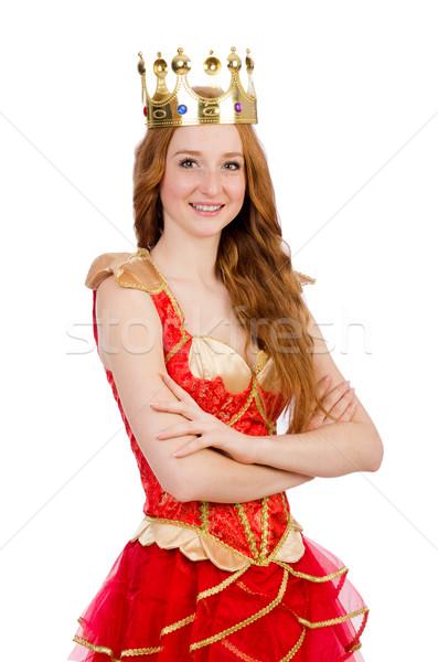 Rainha vestido vermelho isolado branco trabalhar ouro Foto stock © Elnur