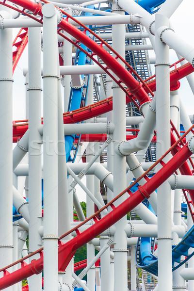 Ferrovia montanha-russa parque de diversões céu metal diversão Foto stock © Elnur