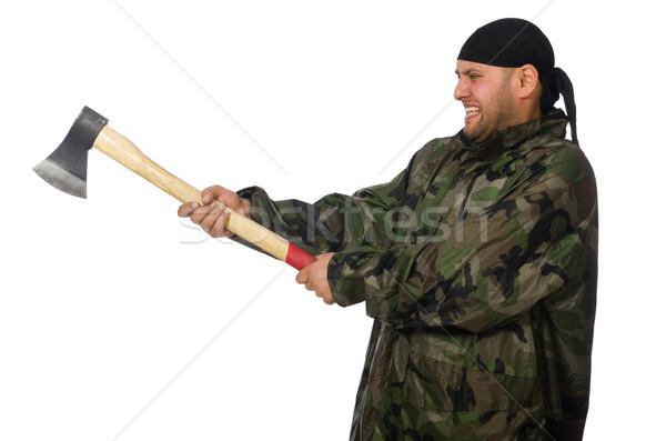 若い男 兵士 ユニフォーム 斧 孤立した ストックフォト © Elnur