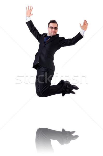 Stok fotoğraf: Atlama · işadamı · yalıtılmış · beyaz · iş · adam