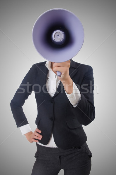 Woman with loudspeaker on white Stock photo © Elnur
