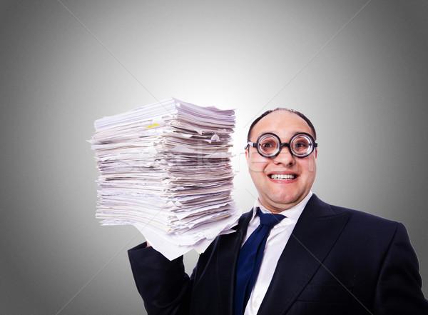 Komik adam klasörler eğim iş ofis Stok fotoğraf © Elnur