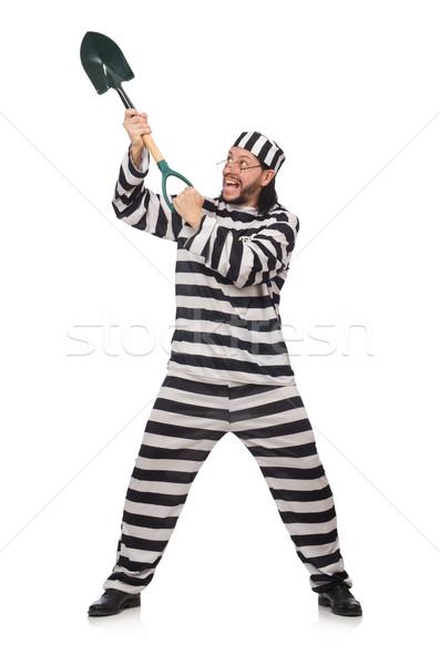 Gefängnis Häftling Spaten isoliert weiß Mann Stock foto © Elnur