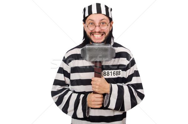 Gefängnis Häftling Hammer isoliert weiß Mann Stock foto © Elnur