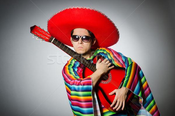 человека красный сомбреро играет гитаре вечеринка Сток-фото © Elnur