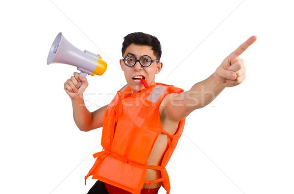 Drôle homme gilet haut-parleur bureau Photo stock © Elnur