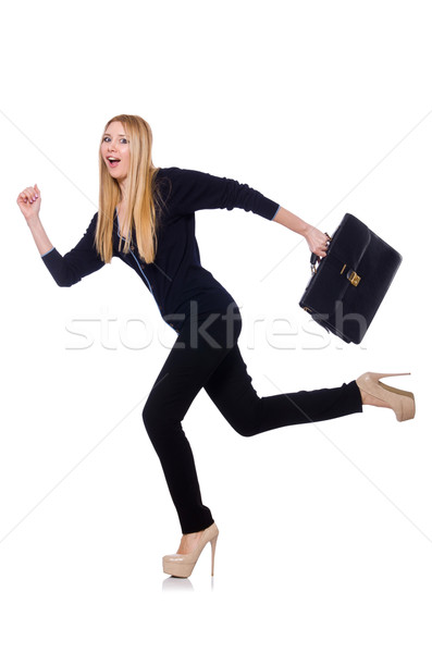 Tall young woman in black clothing with handbag isolated on white Stock photo © Elnur