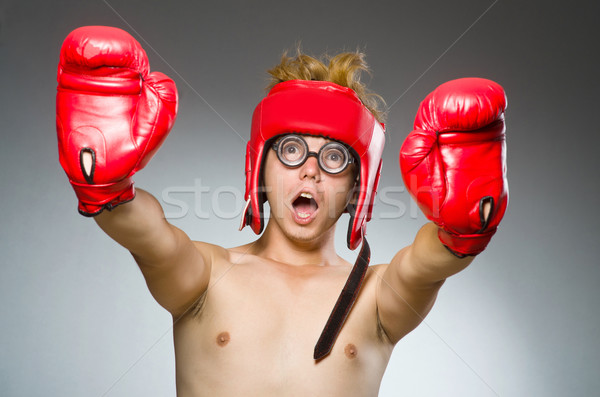 Grappig nerd bokser sport hand man Stockfoto © Elnur