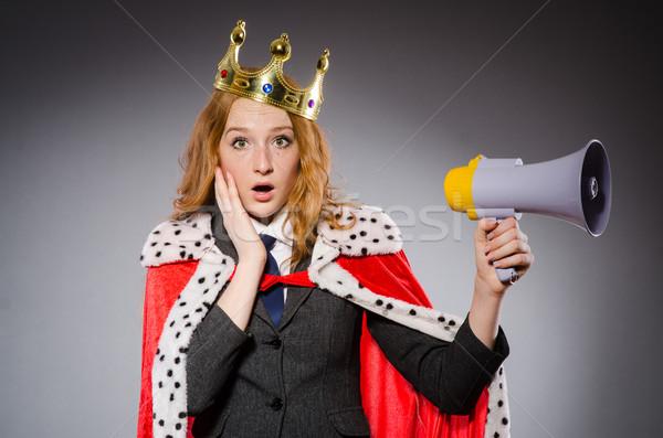 Királynő üzletember hangfal vicces nő munka Stock fotó © Elnur