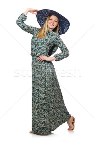 Jonge vrouw mode model zomer witte shirt Stockfoto © Elnur