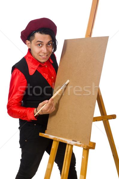 Grappig kunstenaar geïsoleerd witte werk frame Stockfoto © Elnur