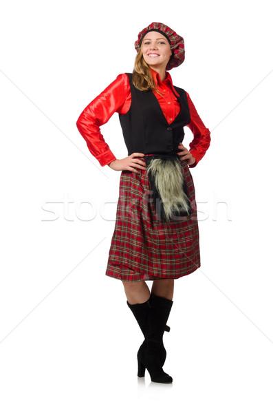 Funny woman in scottish clothing on white Stock photo © Elnur