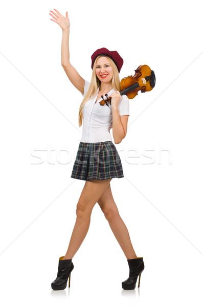 Mulher jogar violino isolado branco madeira Foto stock © Elnur