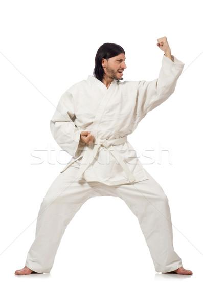 Karate savaşçı yalıtılmış beyaz spor erkek Stok fotoğraf © Elnur
