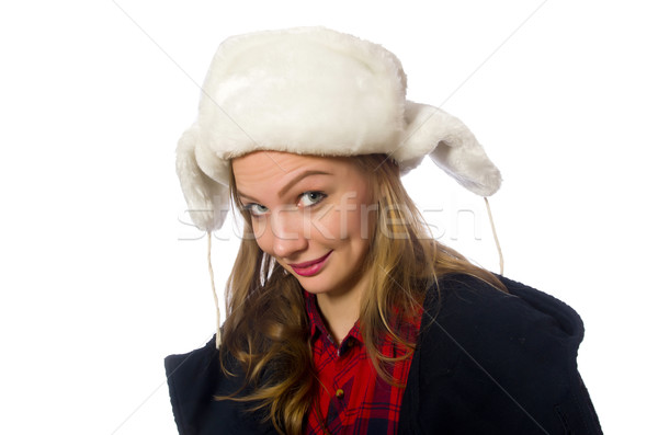 Woman with hat in funny concept Stock photo © Elnur