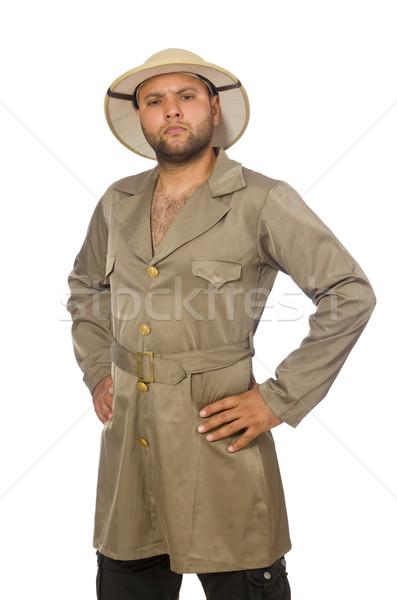 Man in safari hat isolated on white Stock photo © Elnur