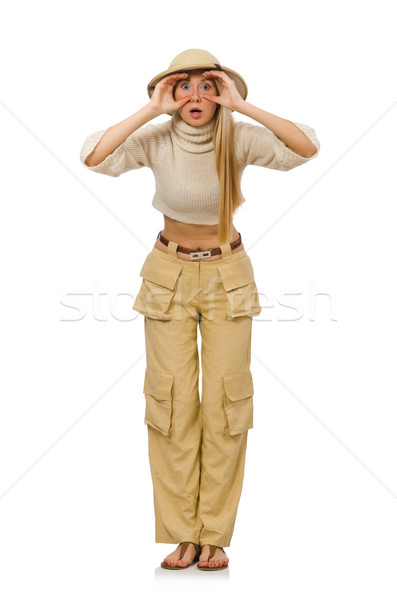 Pretty woman in beige trousers isolated on white Stock photo © Elnur