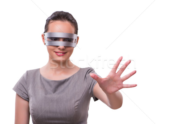 Futurista techno mulher isolado branco tecnologia Foto stock © Elnur