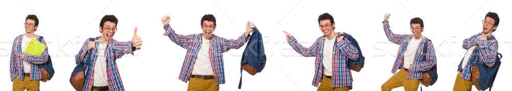 коллаж студент рюкзак белый человека книгах Сток-фото © Elnur
