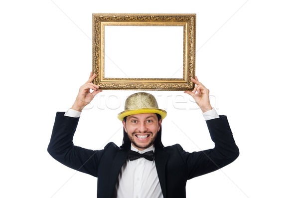 Férfi képkeret izolált fehér férfi fehér háttér Stock fotó © Elnur