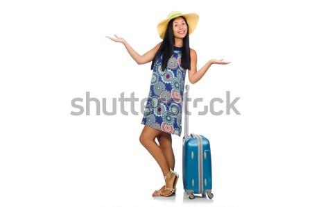 Nő bőrönd izolált fehér lány boldog Stock fotó © Elnur