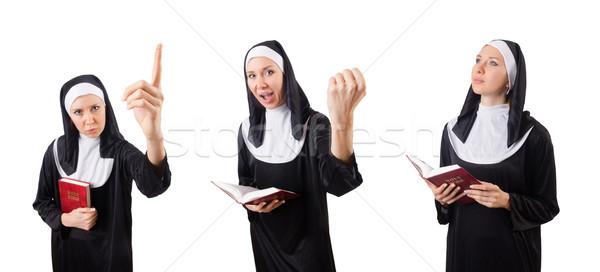 Bella suora bible isolato bianco donna Foto d'archivio © Elnur