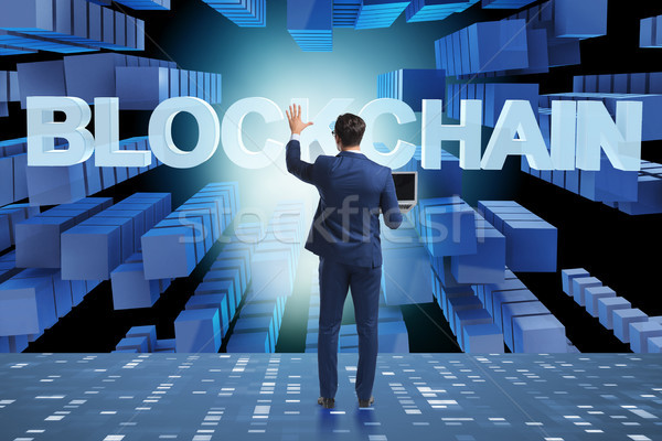 Businessman in blockchain cryptocurrency concept Stock photo © Elnur