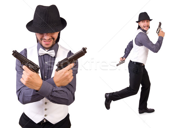 The man with gun isolated on the white Stock photo © Elnur