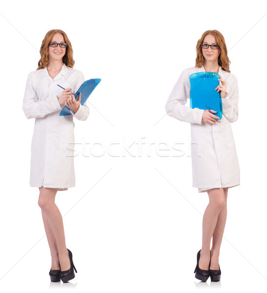 The pretty female doctor holding diary isolated on white Stock photo © Elnur