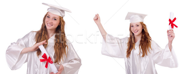 Nő diák izolált fehér papír iskola Stock fotó © Elnur