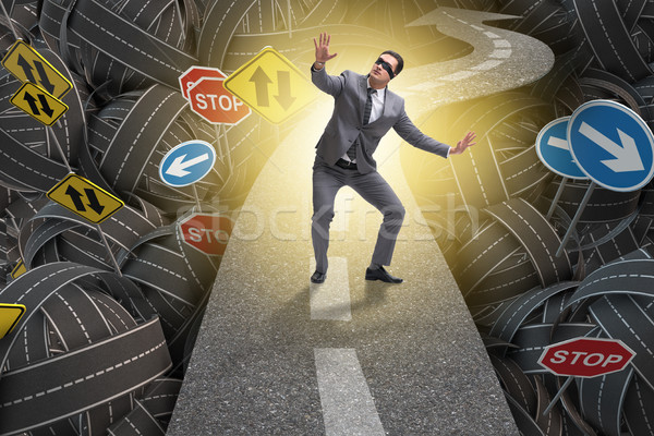Blindfold businessman on the road unsure Stock photo © Elnur