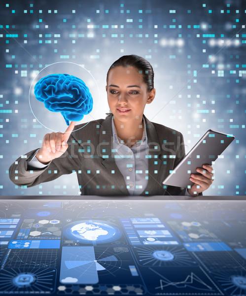 Mujer de negocios inteligencia artificial ordenador mujer ciencia cerebro Foto stock © Elnur