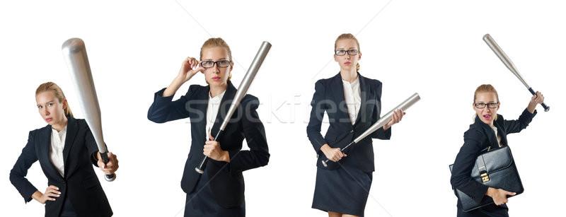 Geschäftsfrau Baseballschläger weiß Business Arbeit Sport Stock foto © Elnur