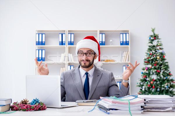 Fiatal üzletember ünnepel karácsony iroda üzlet Stock fotó © Elnur