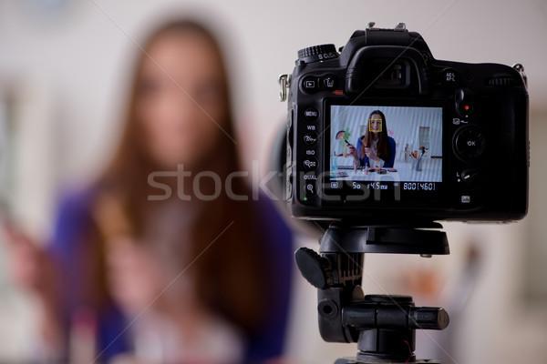 Beauty fashion blogger recording video for blog Stock photo © Elnur