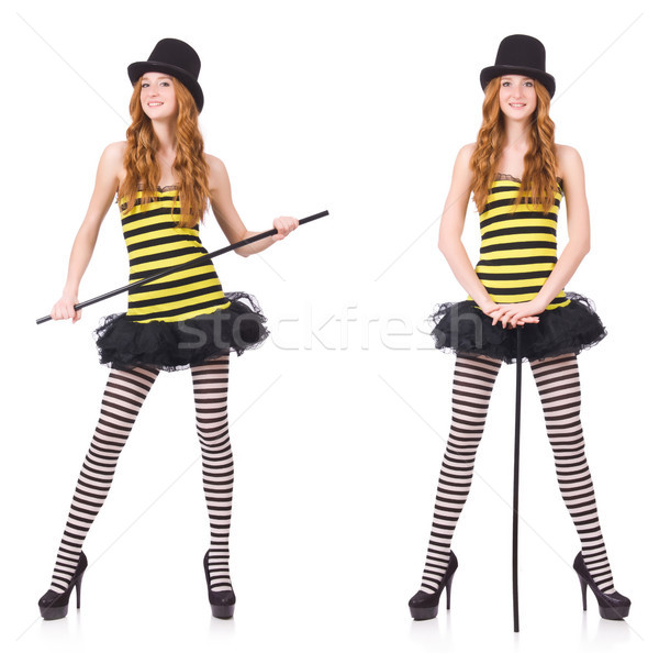 少女 黒 黄色 縞模様の ドレス 孤立した ストックフォト © Elnur