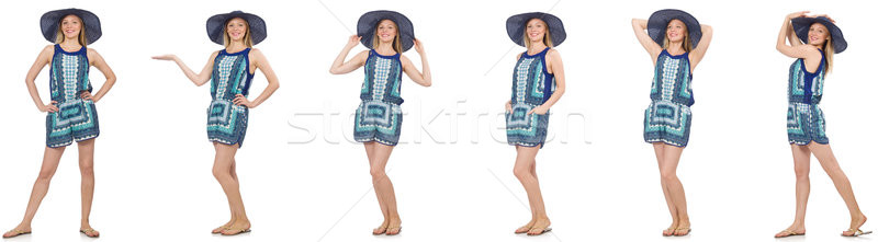 Collage of woman in blue dress and panama on white Stock photo © Elnur