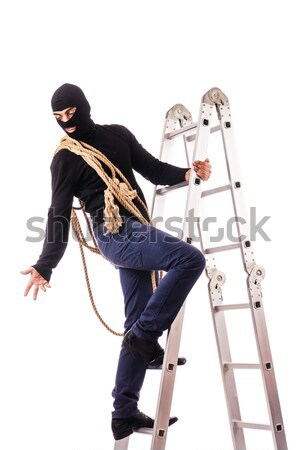 Kidnapper with tied woman isolated on white Stock photo © Elnur