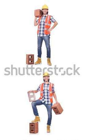 строителя глина кирпича изолированный белый человека Сток-фото © Elnur